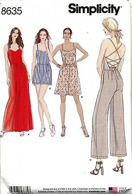 Simplicity Sewing Pattern 8635 Misses 6-14 Dress, Maxi Jumpsuits W/ Back Options