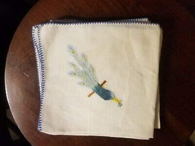 5 VINTAGE MADEIRA EMBROIDERED PEACOCK bird LINEN NAPKINS OMBRE SHADING