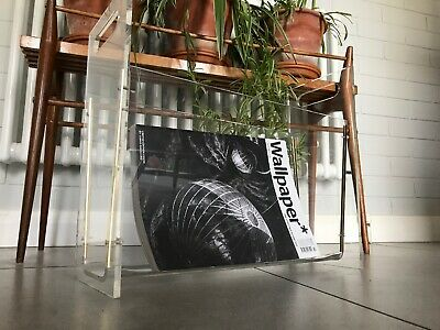 Vintage Mid Century Lucite clear Magazine Rack Modernist acrylic perspex retro