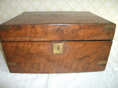Antique Walnut Veneer Brass Bound Writing Slope In Need Of Restoration / Tlc