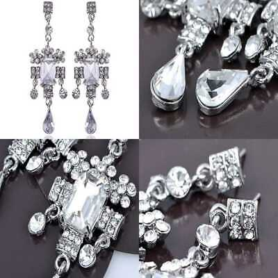 Antique Victorian Design Ice Clear Crystal Rhinestone Dangle Chandelier Earrings