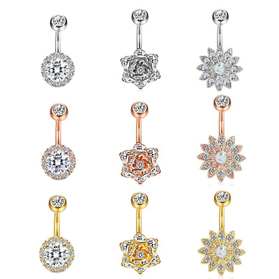 Belly Button Bars Crystal Gems 3PCS Flower Navel Bar UK Body Piercing Jewellery