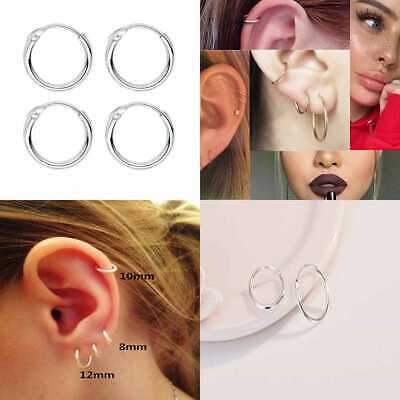 e650229d2fc9b SLEEPER CARTILAGE TINY SMALL Hoop Earrings 925 STERLING SILVER Round Nose  Ring H