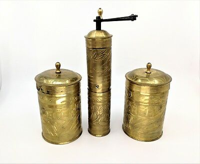 Vintage Handcrafted Islamic Bronze Brass Copper Tin container for coffee grinder