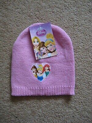 New Tags Girls Pink Disney Princess Beanie Hat Cinderella Ariel Belle One Size