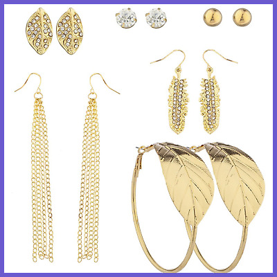 Lux Accessories GOLD Tone Crystal Rhinestone Assorted Leaf Multiple Earring Set