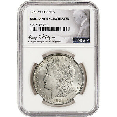 1921 US Morgan Silver Dollar $1 - NGC Brilliant Uncirculated