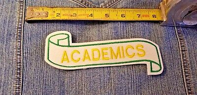 """2 Vintage Felt Patch 'Academics' 6 x 2"""" Green, Yellow, White Embroidery"""
