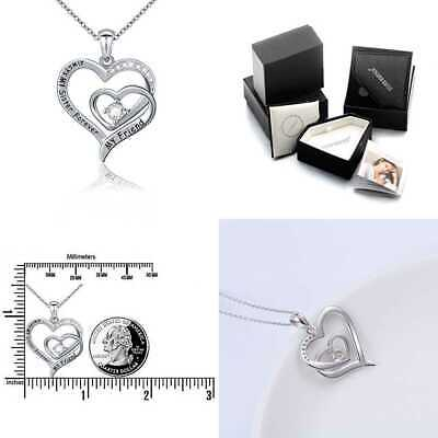 S925 STERLING SILVER Always My Sister Forever Friend Love Heart Pendant Necklace