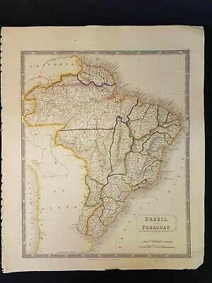1828 Hand Coloured Map BRAZIL AND PARAGUAY South America ANTIQUE Sidney Hall
