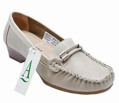 Ladies Beige Amblers Slip-On Smart Comfy Moccasin Casual Loafer Shoes Size 3