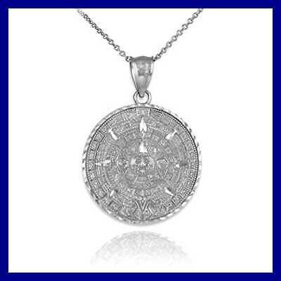 925 STERLING SILVER Aztec Charm Mayan Calendar Pendant Necklace FREE SHIPPING