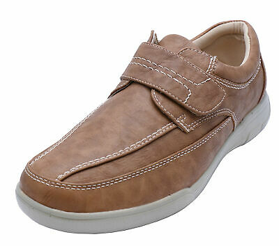 Mens Tan Touch Strap Comfy Lightweight Smart Casual Loafers Deck Shoes Uk 6-12