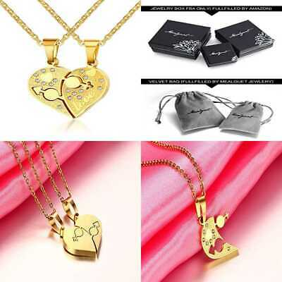 Stainless Steel Matching Heart Love Couple's Pendant Necklace For Men Women