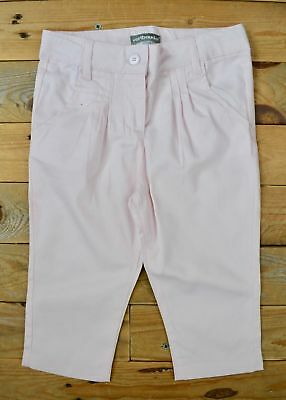 Girls Light Pink Smart Cotton Pleated Chino Chinos Trousers  Age 3 - 4