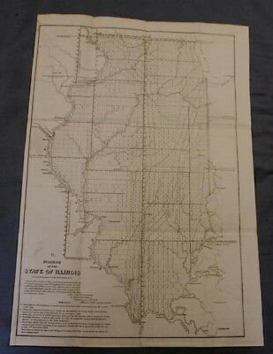 1852 Detailed Survey Map of the State of Illinois, 24x17""