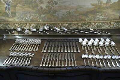 "WMF - FÄCHER-MUSTER "" SILBER-TAFEL-BESTECK "" 12 Pers., 83 Teile, GERMANY um 1930"