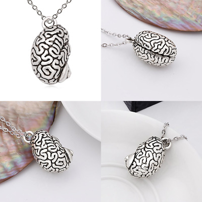 Plated Ancient Human Organ 3 D Brain Necklace Cool Pendant Long Chain