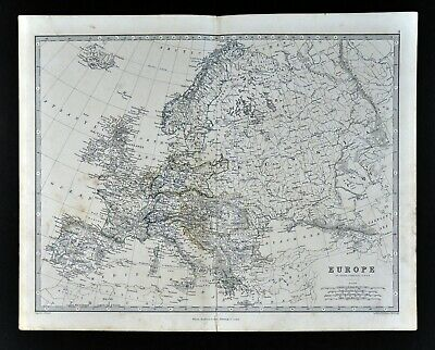 1883 Johnston Map Europe France Italy Spain Germany England Greece Russia Sweden