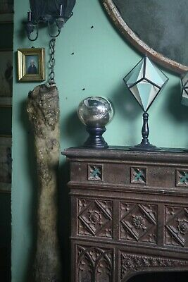 19th Century Foxed Witches Ball Antique Scientific Cuiro Witchcraft Mirror