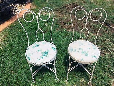 set of 2 Vintage chairs Ice Cream style iron adult  retro shabby chic