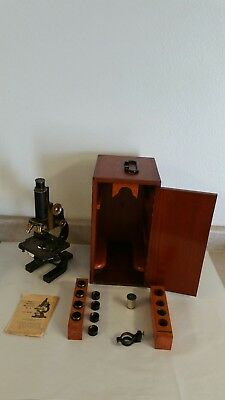 Antique Spencer Lens Company Antique Brass Scientific Research Microscope 1914