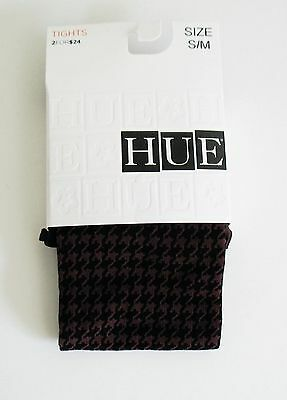 NWT New Hue Tights Houndstooth Check Control Top Black Grey Thunder 15808 S//M
