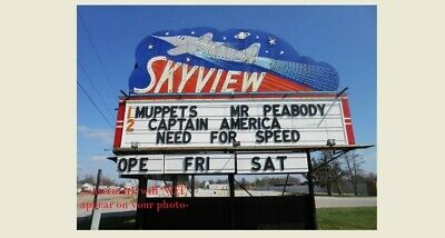 Skyview Drive-In Movie Theater Sign PHOTO Belleville Illinois,Marquee, Est. 1949