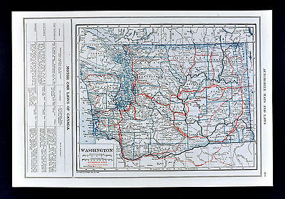 1919 Automobile Road Map Washington Seattle Tacoma Olympia Spokane Scenic Routes