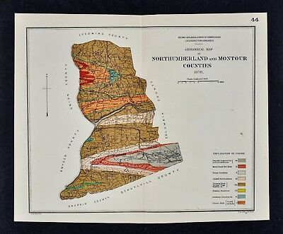 1878 Geological Map Northumberland & Montour County Pennsylvania by Lesley - PA