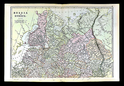 1883 Blackie Map - North Russia Europe - Moscow St. Petersburg Finland Helsinki