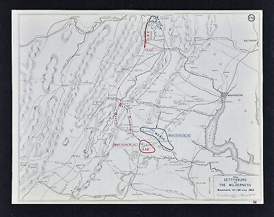 West Point Civil War Map Lee's Retreat from Gettysburg to the Wilderness July 26