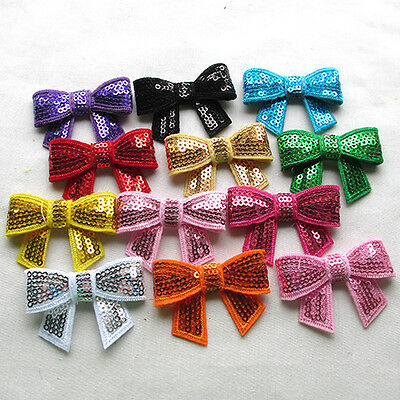 12PCS Sequins Ribbon Bows Flowers Appliques Wedding Craft 52x20mm A0418