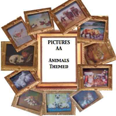 - ANIMALS set DD Dolls House Miniatures Handmade Picture X1 choose from 11