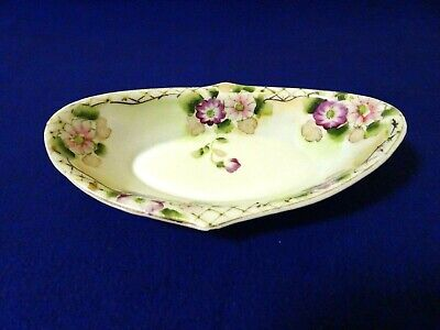 Nippon? Floral Porcelain Hand Painted Oblong Celery/Relish Dish-Gold Trim