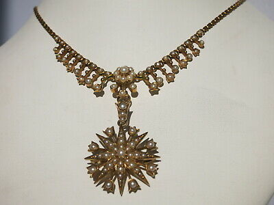 BEAUTIFUL ANTIQUE VICTORIAN FOLIATE and STARBURST 15 CT GOLD PEARL NECKLACE