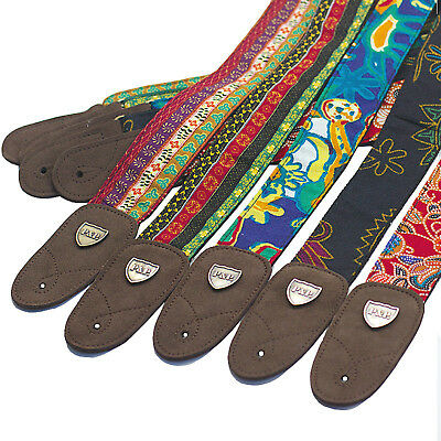 P&P Protable Adjustable Embroidered folk Cotton comfort guitar Acoustic straps