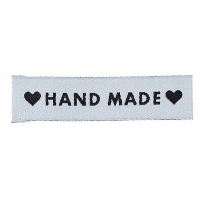 50Pcs Woven Handmade with Love Heart Garment Labels 60mm x 15mm for Scrapbooking
