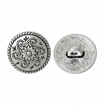 8Pcs Metal Sewing Shank Buttons Flower Carved Based Alloy DIY Craft Accessories