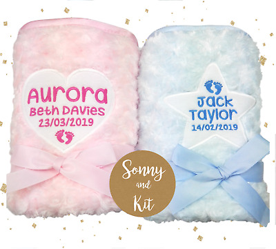 Personalised Baby Girl and Boy Fluffy Blankets, Super Soft, Embroidered Gift