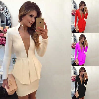 Womens Business OL Work Deep V Neck Blazer Jacket Suit Set Outfit Tops+Skirt AU
