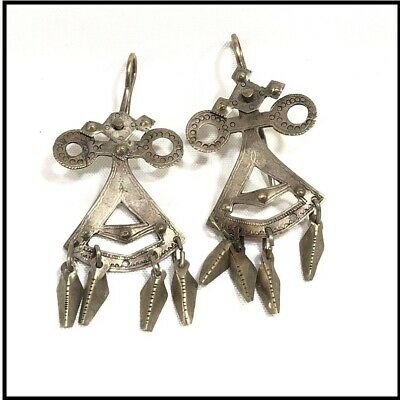 OLD Vtg ANTIQUE STERLING SILVER HANDMADE EARRINGS TRIBAL AFRICAN ETHNIC JEWELRY