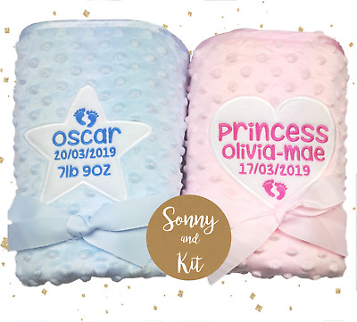 Personalised Baby Girl and Boy Dimple Dot Blankets, Super Soft, Embroidered Gift