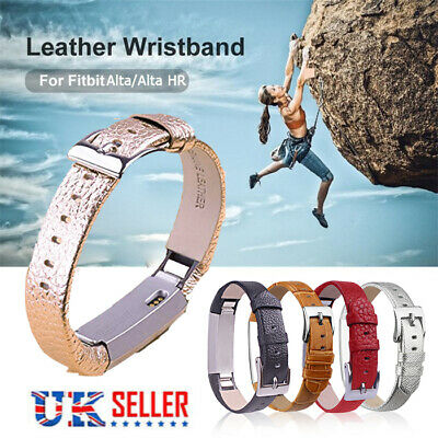 For FitBit Alta HR Strap Replacement Soft Genuine Leather Buckle Sport Wristband