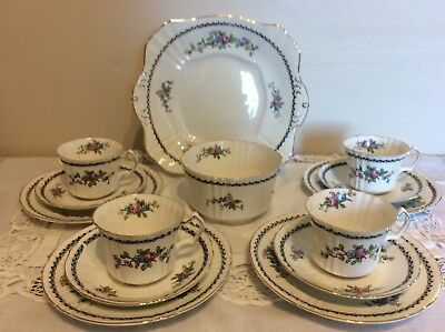 Beautiful Vintage Best China Tea Set For Four Persons With Bright Florals Vgc