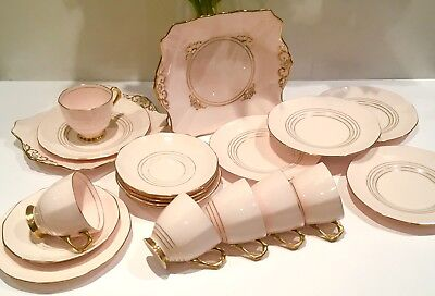 Tuscan English Vintage China Teaset Tea cups Plates Pink Art Deco