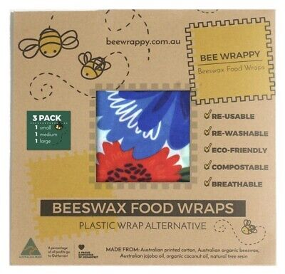 Pack of 3 Reusable  Beeswax Food  Wraps  Eco Friendly LARGE+MEDIUM+SMALL