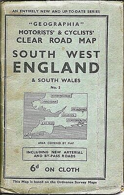 Geographia Cyclists/Motorists Map of SW England & S Wales - 1910/20s