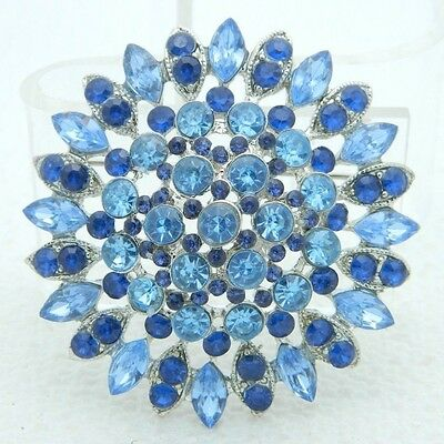VTG Large Multi-Tier 3D Silver Tone Blue Glass Rhinestone Brooch Pin