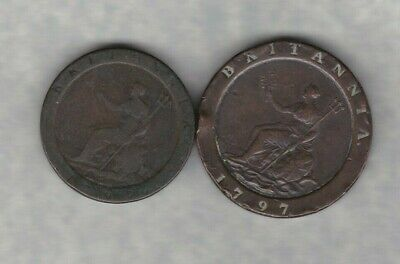 1797 George Iii Copper Penny And Two Pence In A Well Used To Fine Condition